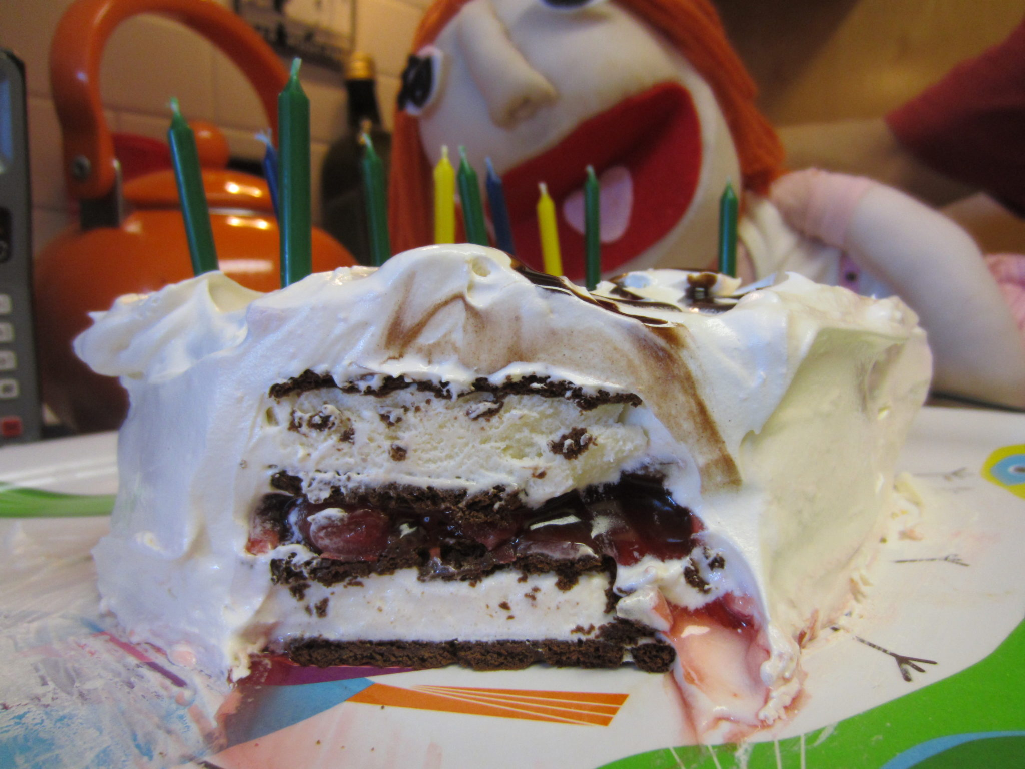 A slice of ice cream sandwich cake